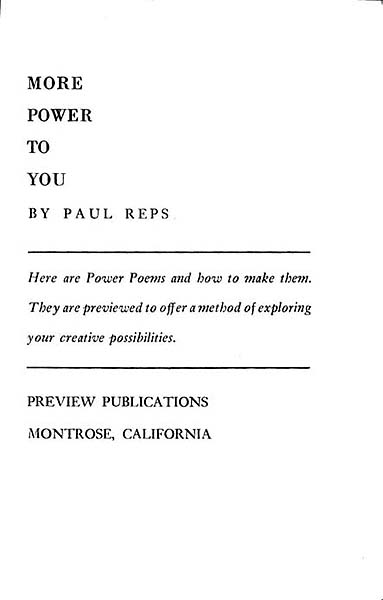 Paul Reps More Power To You 1939 Terebess Asia Online Tao