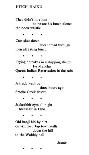 Gary Snyder Hitch Haiku From The Back Country Haiku From Earth