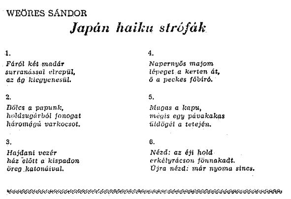 japán idézetek magyarul Weöres Sándor haikui és haiku szerű versei